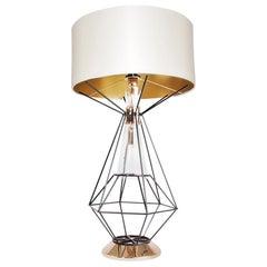 21st Century Nola Table Lamp Brass Glass Silk