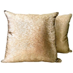 21st Century Pair Of Silk Metallic Two-Tone Gold and Silver Down Pillows