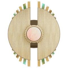 21st Century Palm Wall Lamp Brass Estremoz Marble