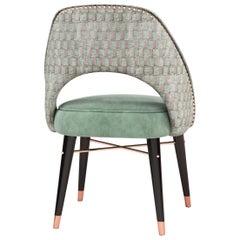 21st Century Shirley Dining Chair Walnut Wood Velvet