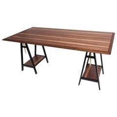21st Century Walnut and Brass Work Desk