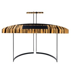 21th Century Desk Wight Ebony and Black Leather with Metal Leg by Aymeric Lefort