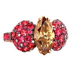 2.25 Carat GIA Certified Fancy Orange Brown Diamond Unheated Burmese Spinel Ring