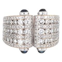 2.25 Carat Diamond Sapphire Cuff Ring Vintage 18 Karat Gold Estate Jewelry