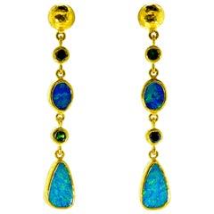 23 Karat Gold, Opal, Tsavorite long Earrings