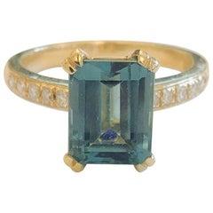2.4 Carat Green Tourmaline Diamond Cocktail Ring