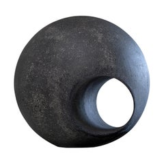 In Stock Outdoor Sculptural Sphere in Cast Fiberglass Black by May Furniture
