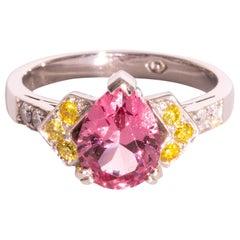 2.44 Carat Pear Cut Pink Spinel Yellow Diamond and White Diamond Platinum Ring