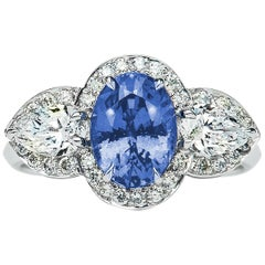2.57 Carat Ceylon Blue Oval Sapphire Diamond Cluster Ring Natalie Barney