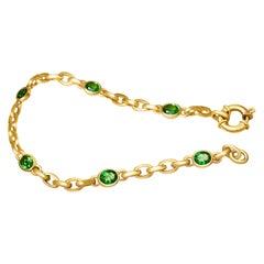 2.6 Carat Intense Green Tsavorite 18 Karat Matte Yellow Gold Bracelet