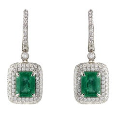2.83 Carat Emerald and Diamond Earrings