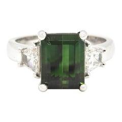2.86 Carat Green Tourmaline and Diamond Cocktail Ring