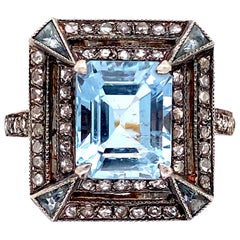 2.90 Carat Emerald-Cut Aquamarine and Diamond Cocktail Ring Estate Fine Jewelry