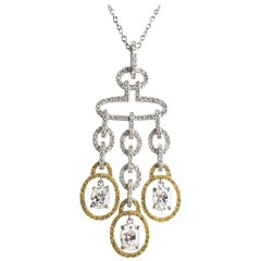 2.98 Carat Diamond and Yellow Diamond Drop Pendant in White and Yellow Gold