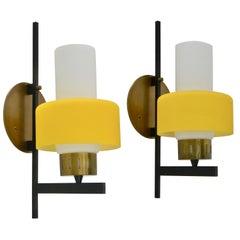 3 Yellow Stilnovo Sconces
