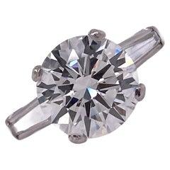 3.39 Carat Round Brilliant Diamond Platinum Engagement Ring GIA J/VS1