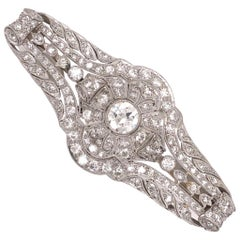 3.40 Carat Diamond Art Deco Platinum Filigree Brooch Pin Estate Fine Jewelry