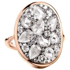 3.45 Carat White GHVS Rose-Cut and Brilliant-Cut Diamond Pave Ring