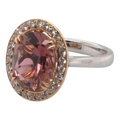 3.63 Carat Certified Oval Cut Pink Tourmaline and Diamond Cocktail Ring