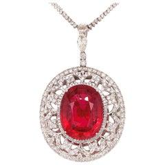 37.56 Carat Rubellite Tourmaline Diamond Pendant Necklace