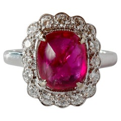 4 Carat Burma Ruby Ring Certified No-Heat