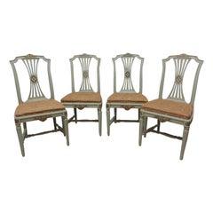4 Original Paint Swedish Gustavian Side Chairs