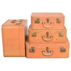 4 Stratosphere Rappaport Leather Suitcases Luggage as Side Tables End Tables