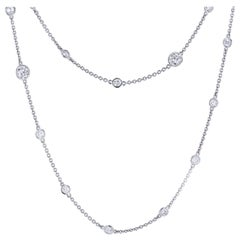 Bezel Set 5.13 Total Carat Diamond Necklace by the Yard Platinum