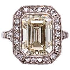 4.01 Carat Emerald-Cut Diamond Platinum Cocktail Ring Fine Estate Jewelry