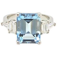4.13 Carat Emerald Cut Aquamarine and Diamond Platinum Engagement Ring