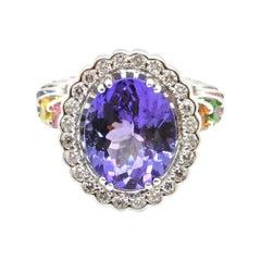 4.65 Carat Oval Tanzanite Diamond and Rainbow Gemstone Cocktail Ring