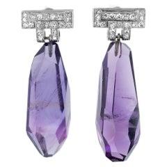 48.00 Carat Natural Amethyst Diamond Platinum Dangle Earrings