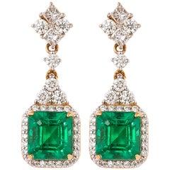 5.0 Carat Emerald and Diamond Earrings in 18 Karat Yellow Gold