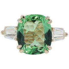 5.22 Carat Green Beryl and Diamond Ring in Rose Gold