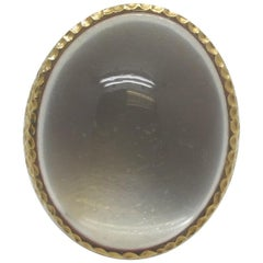 54.86 Carat Oval Moonstone Cabochon 18k Yellow Gold Dome Ring