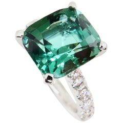 5.56 Carat Natural Green Tourmaline and Diamond Statement Cocktail Ring