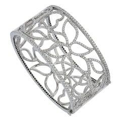 5.78 Carat Diamond, 2 Sided Wearable, White Golden, Cuff Bracelet
