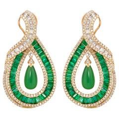 5.9 Carat Emerald, Green Chalcedony and Diamond Earrings in 18 Karat Yellow Gold