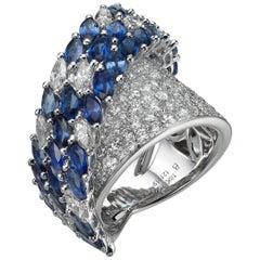 5.96 Carat Sapphire 3.06 Carat Diamond 18 Karat White Gold Cocktail Ring