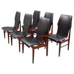 6 Teakwood Chairs, Denmark, 1950