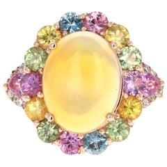 6.05 Carat Opal Sapphire Diamond 14 Karat Rose Gold Cocktail Ring