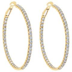 6.08 Carat Round Brilliant Diamond Hoop Earrings