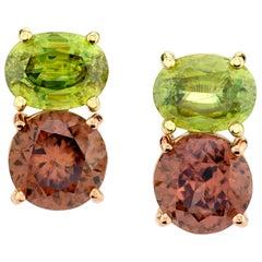 6.11 Carat Rose Zircon and Sphene, 18 Karat Yellow and Rose Gold Earrings