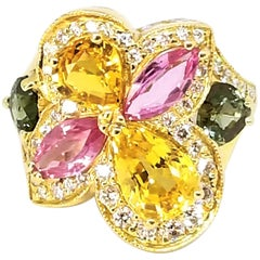 6.30 Carat Yellow Pink Green Sapphire Diamond Asymmetric Floral Ring 18 Karat
