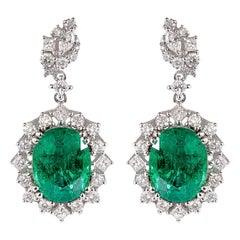 7.1 Carat Emerald and Diamond Earrings in 18 Karat White Gold