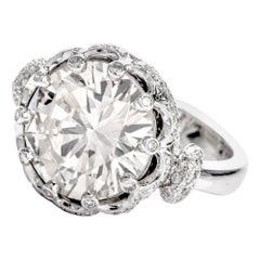 7.57 Carat Round Diamond Crown 18 Karat Engagement Ring
