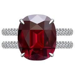 7.7 Carat Burgundy Rhodolite Garnet Diamond 18 Karat White Gold Ring