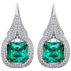 7.8 Carat Zambian Emerald Diamond 18 Karat White Gold Earrings