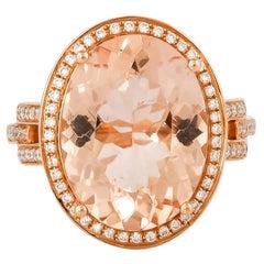7.82 Carat Oval Shaped Morganite Ring in 18 Karat Rose Gold with Diamonds