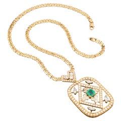 8 Carat Diamonds and 2 Carat Emerald Pendant Necklace
